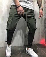 Мужские спортивные штаны с липучками 2Y Premium хаки, фото 1