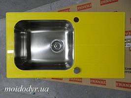 Кухонная стеклянная мойка 780x435x190 желтая