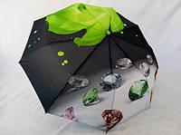 Женские зонты-автоматы на 9 спиц  роза с бриллиантами