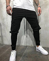 Мужские спортивные штаны  с липучками 2Y Premium черные размер М, фото 1
