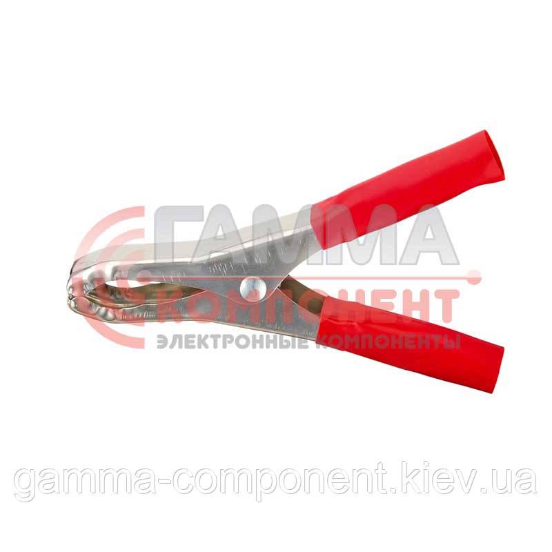 Зажим аккумуляторный (крокодил) WD033,  L:100мм, красный