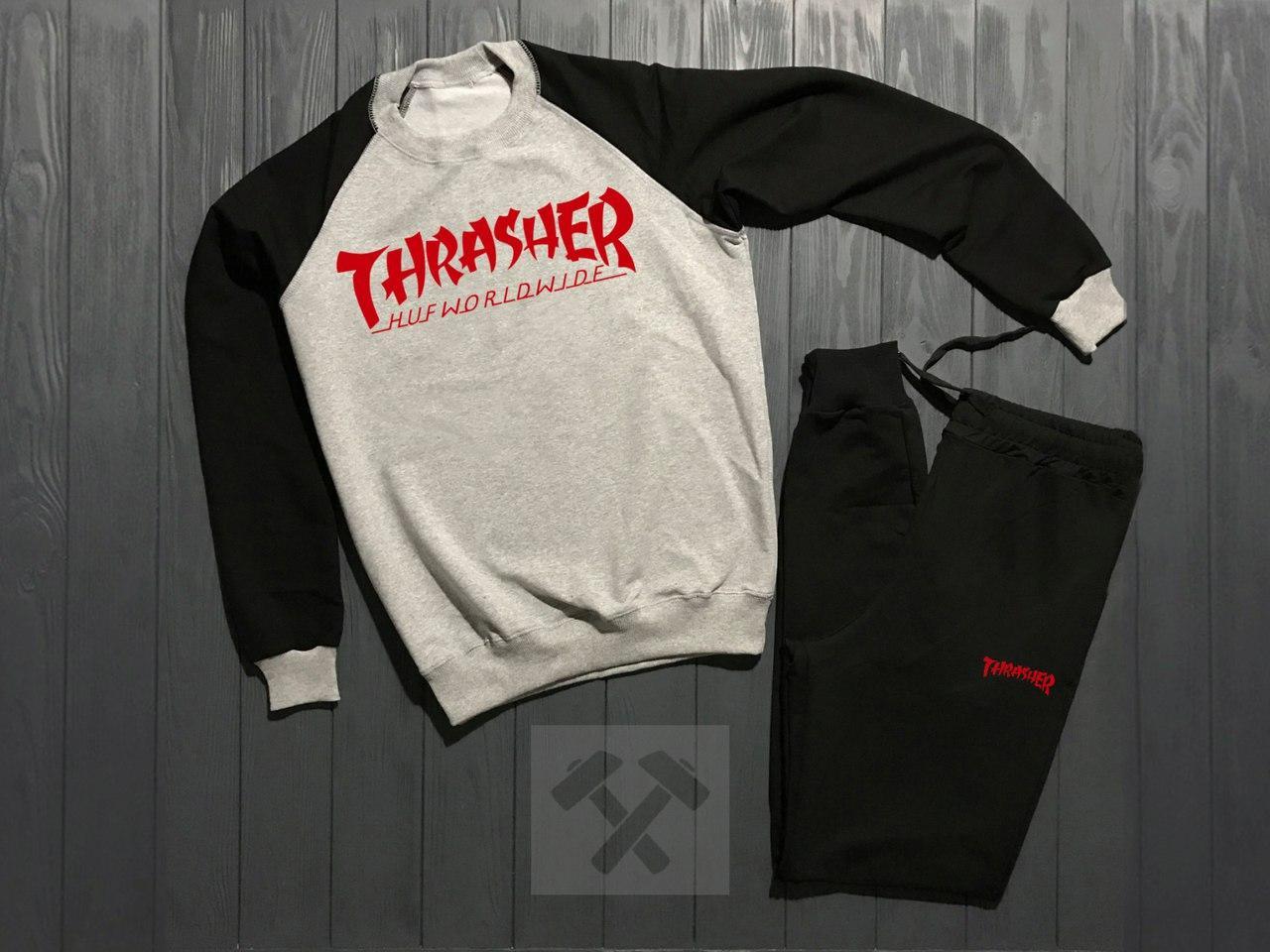 Спортивный костюм без молнии Thrasher серо-черный топ реплика