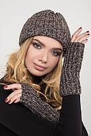 Женская шапка с митенками