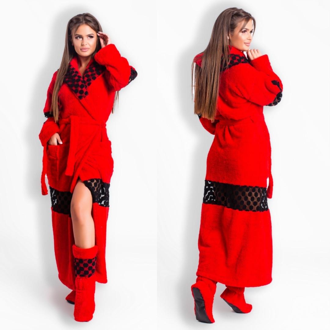 Женский набор халат длинный  махровый+ махровые сапожки