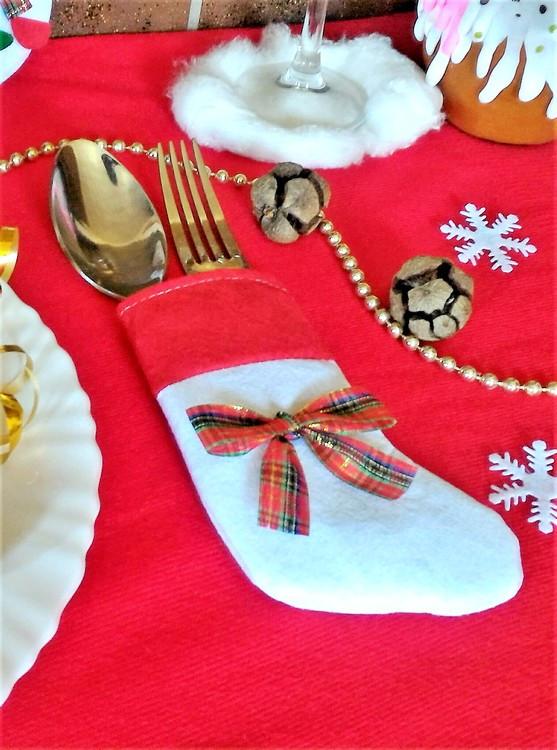 Сапожок новогодний для столовых приборов белый