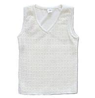 Шерстяной жилет белого цвета, рост 122-128 см, фото 1