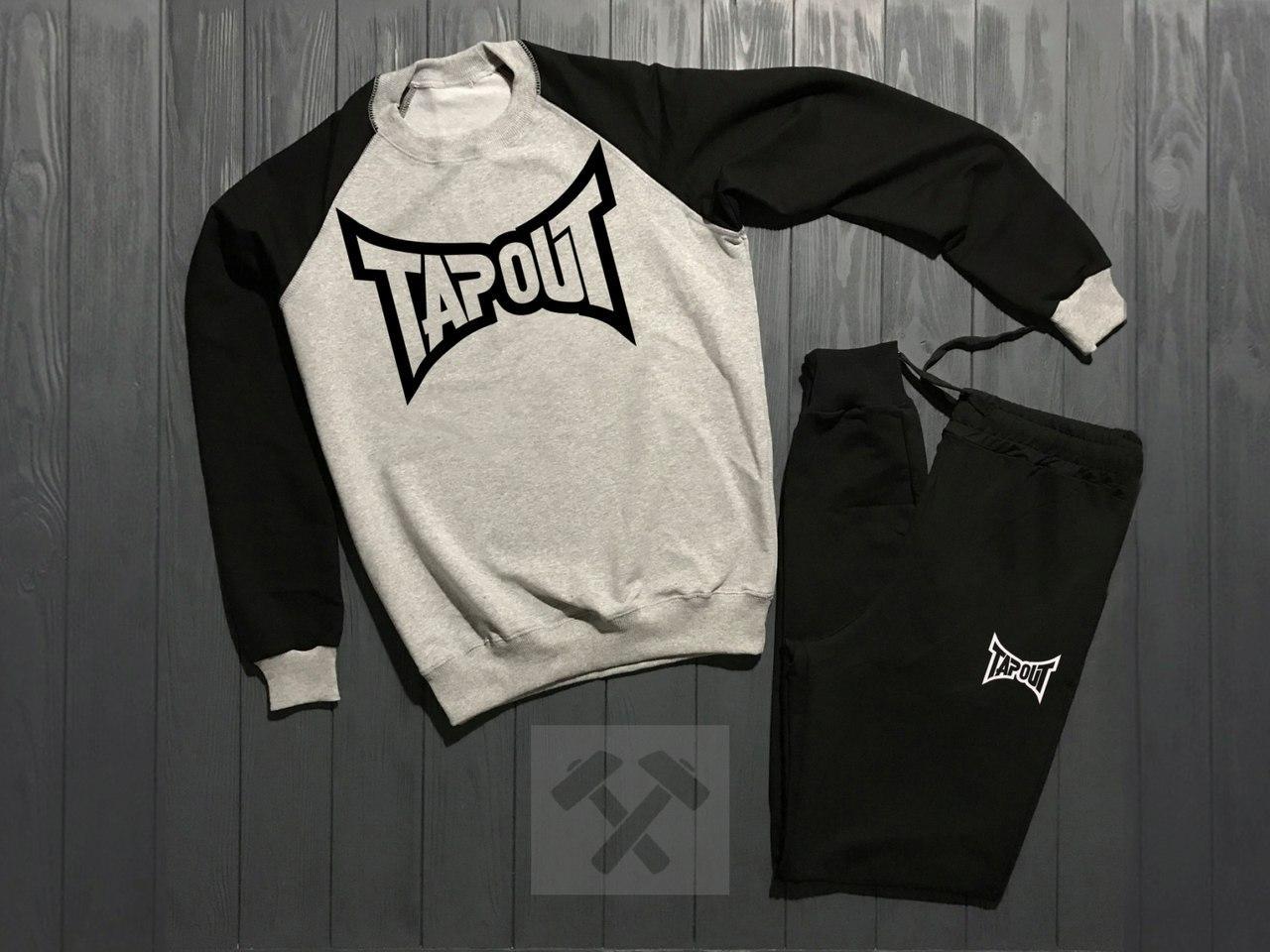 Спортивный костюм без молнии Tapout черно-серый топ реплика