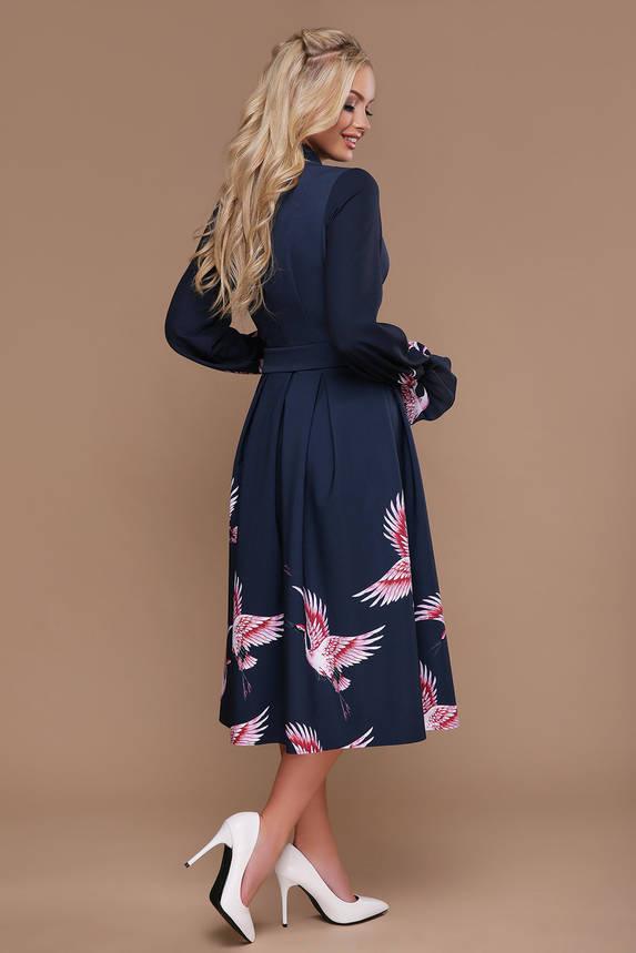 """Нарядное платье клеш с запахом и принтом """"Аисты"""", фото 2"""