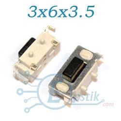 Кнопка боковая тактовая, 3х6х3.5 мм., 2pin SMD
