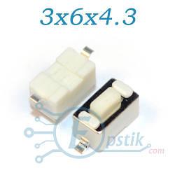 Кнопка тактовая, 3x6x4.3мм. 2pin SMD