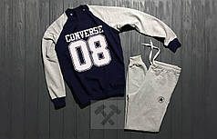 Спортивный костюм без молнии Converse серо-синий топ реплика