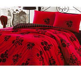 Постельное белье Kristal Fulya красное полуторное