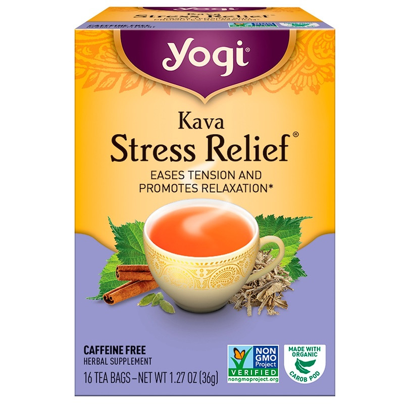 Yogi Tea, Kava Stress Relief, без кофеина, 16 чайных пакетиков, 1.27 унций (36 г)