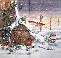 Декупажные салфетки ёж на снегу 1387