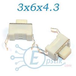 Кнопка тактовая, 3x6x4.3мм. 2pin