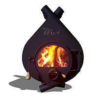 Булерьян, отопительная печь Rud Pyrotron Кантри 02 Со стеклом в дверце печи