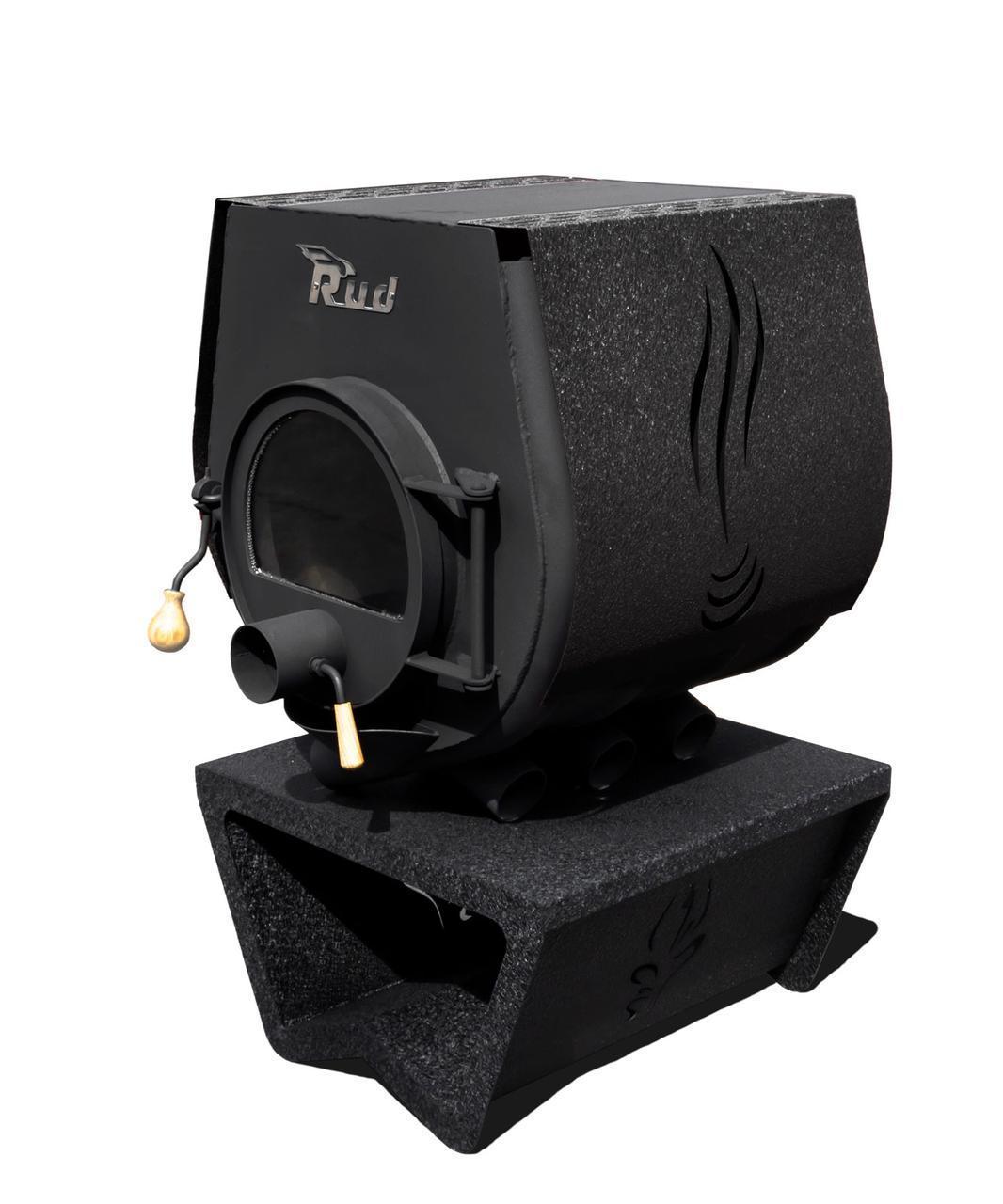 Булерьян, отопительная печь Rud Pyrotron Кантри 01 с варочной поверхностью Обшивка декоративная (коричневая)