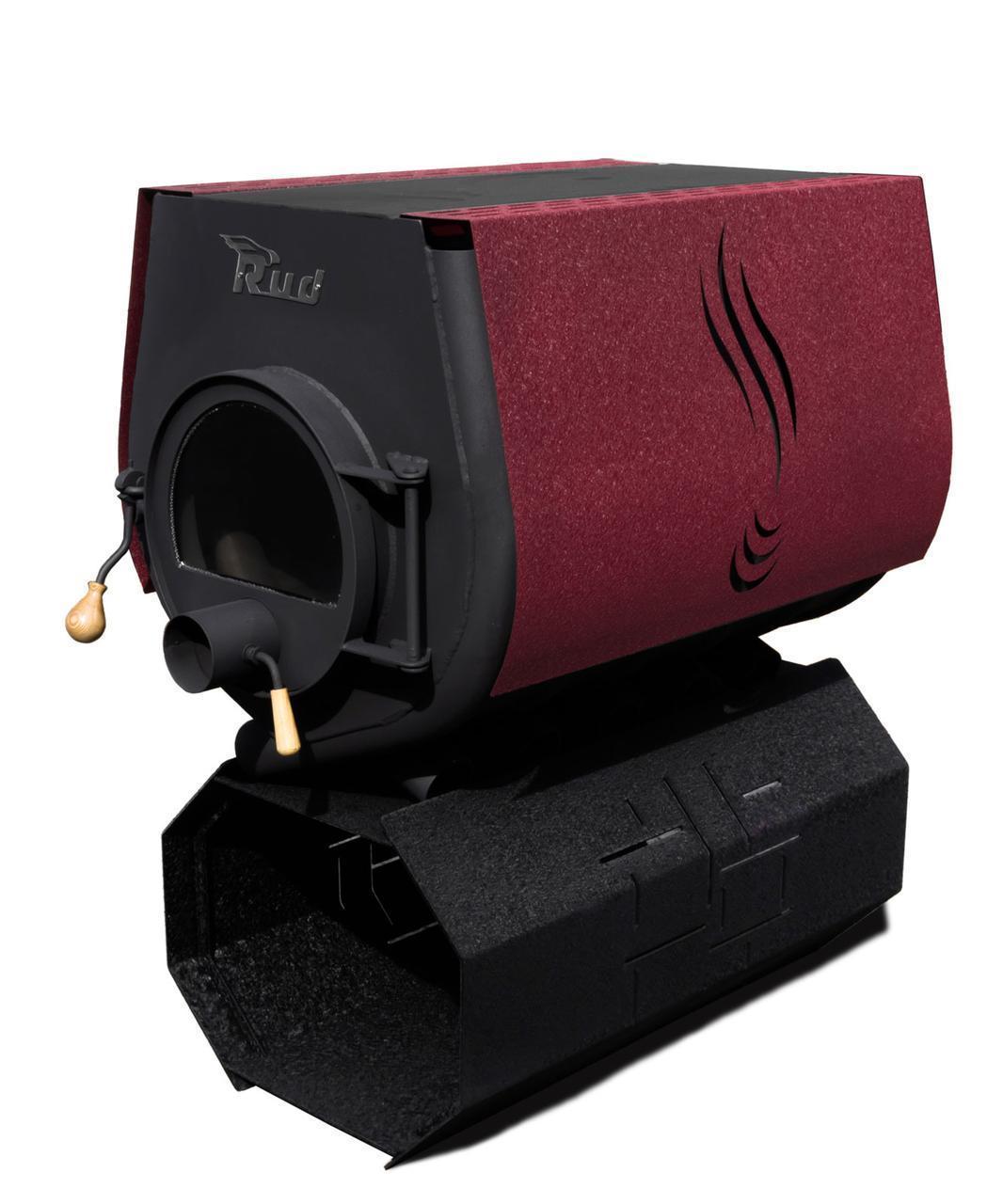 Булерьян, отопительная печь Rud Pyrotron Кантри 03 с варочной поверхностью Обшивка декоративная (бордовая)