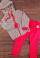 Спортивный костюм для девочек 1,5 года Рост 92 см Коралловый/рисунок Хлопок КС572(92) Бэмби Украина