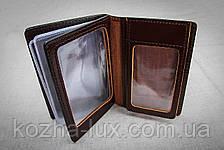 Классная кожаная обложка для документов, прав,  много отделов, фото 3