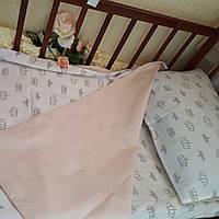 Комплект постельного белья в детскую кроватку - Пудровая с узорами, фото 1