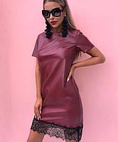 Стильное женское платье из экокожи с кружевом, фото 1