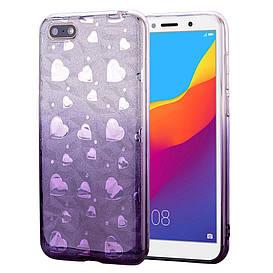 Чехол накладка для Huawei Honor 7A Dua-L22 силиконовый 3D Diamond, Сердца, фиолетовый