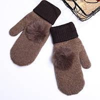 Варежки женские  темно-коричневые с помпоном, фото 1