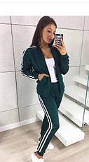 """Модный женский спортивный костюм """"Smart"""": кофта на змейке и штаны с манжетами, темно-синий, фото 2"""