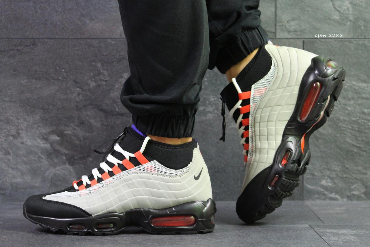Подростковые кроссовки,термо Nike air max 95 Sneakerboot,осенние,серые с черным