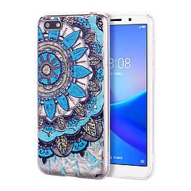 Чехол накладка для Huawei Honor 7A Dua-L22 силиконовый 3D Diamond, Синяя мандала