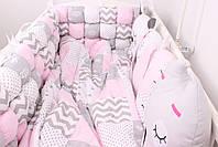 Комплект в детскую кроватку с зверюшками в нежно розовых тонах, фото 2