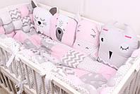 Комплект в детскую кроватку с зверюшками в нежно розовых тонах, фото 3