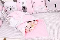 Комплект в детскую кроватку с зверюшками в нежно розовых тонах, фото 4