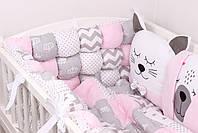 Комплект в детскую кроватку с зверюшками в нежно розовых тонах, фото 5