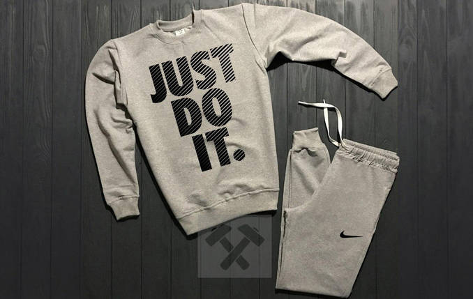 Спортивный костюм без молнии Nike серый топ реплика, фото 2