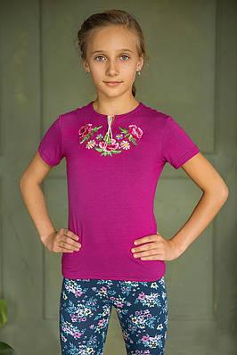 Дитяча вишиванка Маки фіолет – короткий рукав