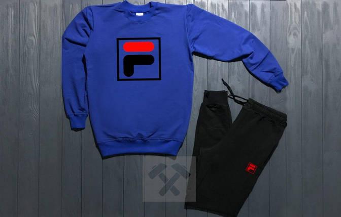 Спортивный костюм без молнии Fila сине-черный топ реплика, фото 2