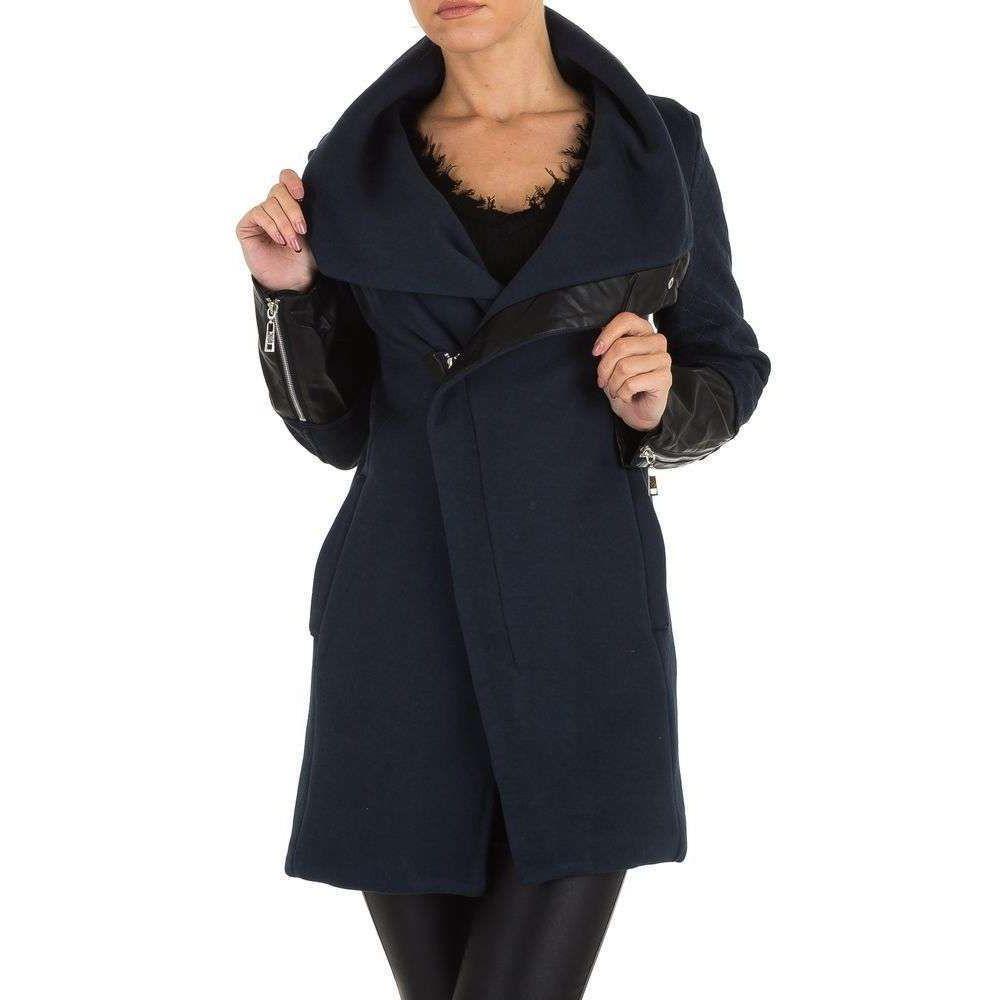 Пальто на молнии с кожаными рукавами Emma&Ashley (Европа), Синий