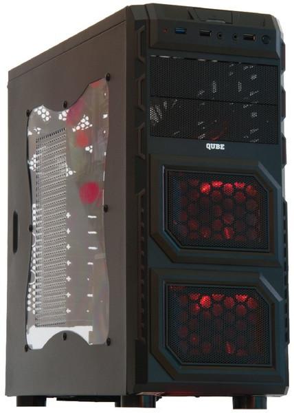 Корпус QUBE QB646 Black/Red, без БП