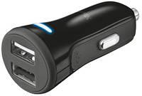 Автомобильное зарядное устройство Trust 20W Car Charger With 2 USB Port Black