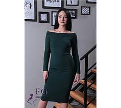 Классическое платье на осень по фигуре открытые плечи длинные рукава темно синее, фото 3