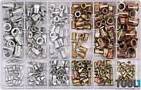 Набор резьбовых заклепок из стали и алюминия М3-М10 300 шт Yato YT-36480