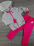 Спортивный костюм для девочек 1 год Рост 86 см Малиновый/рисунок Хлопок КС572(86) Бэмби Украина