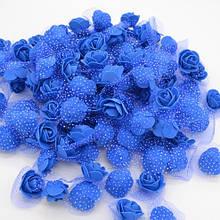 Набор синих цветочков с фатином - в наборе 48-50шт., размер одного цветака 3см, пена