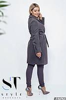 Пальто женское на подкладеЗастежка пуговица, пояс батал