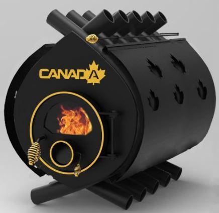 Булерьян, отопительная печь «CANADA» «03» стекло+перфорация 27 кВт-700 М3