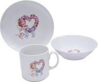 Набор детской фарфоровой посуды Sweet Heart 3 пр Cmielow 6503T06E2B124