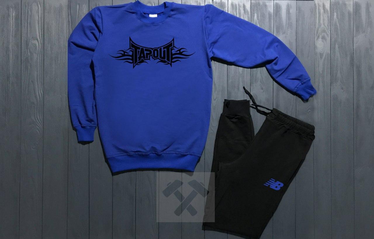 Спортивный костюм без молнии New Balance сине-черный топ реплика