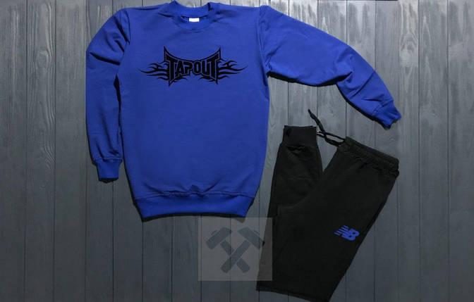 Спортивный костюм без молнии New Balance сине-черный топ реплика, фото 2